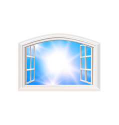 Open window blue sky sun light view realistic vector