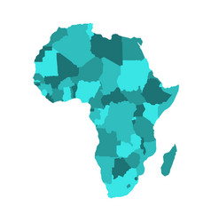political map of africa in four shades of vector image