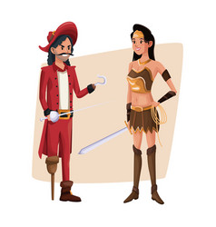Poster with couple pirate man and indian warrior vector