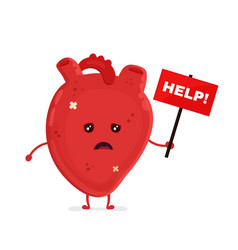 Sad unhealthy sick heart with nameplate vector