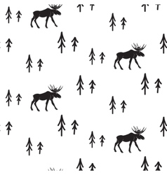 Scandinavian simple style black and white deer vector