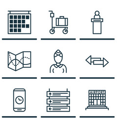 Set of 9 travel icons includes airfield vector