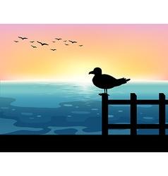 Sihouette bird at sea vector