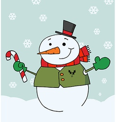 Snowman Holding A Candy Cane In The Snow vector image
