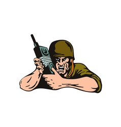 Soldier with Radio vector image