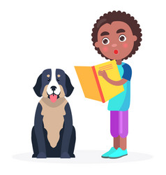 Surprised kid stands with book and pedigree dog vector