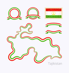 Tajikistan - outline map and ribbons vector