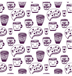 Tea and coffee pattern doodle cups seamless vector