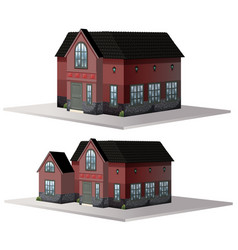 Two styles of houses in brown color vector