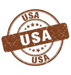 Usa brown grunge round vintage rubber stamp vector