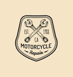 Vintage motorcycle repair logo retro vector