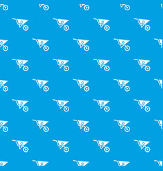 Wheelbarrow pattern seamless blue vector