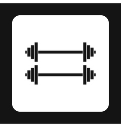 Two barbells icon simple style vector
