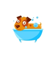 Puppy taking a bubble bath in tub vector