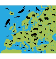 Animals on the map of europe vector