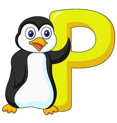 Alphabet P with penguin cartoon vector image