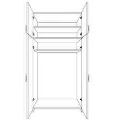 Image of open cabinet vector