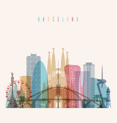 barcelona skyline detailed silhouette vector image