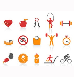 Simple fitness icons setorange color series vector