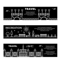 Travel and recreation flat banners template with vector