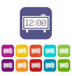 alarm clock icons set flat vector image
