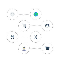 flat icons earth planet zodiac sign lunar and vector image