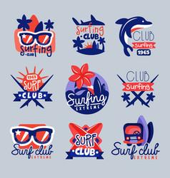 Surfing club logo templates set surf club emblem vector