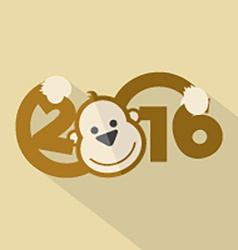 2016 Typography With Cute Monkey vector image vector image