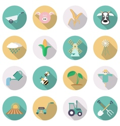 Agriculture and farming icons flat style with long vector