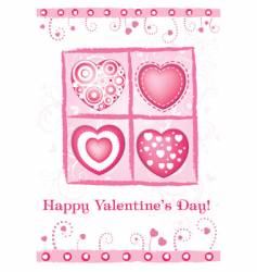 Valentine's day card with hearts vector image