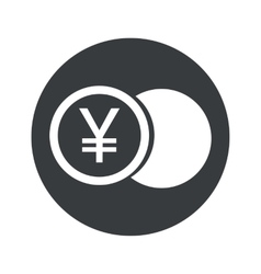 Monochrome round yen coin icon vector