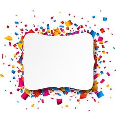 White paper note over confetti vector