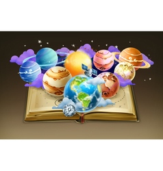 Book with planets background vector