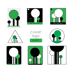 Set of summer camp badges and other outdoor logo vector