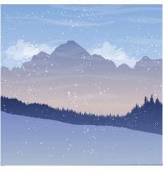 Mountain landscape with fir trees and snow vector