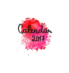 Calendar 2017 cover template with pink watercolor vector