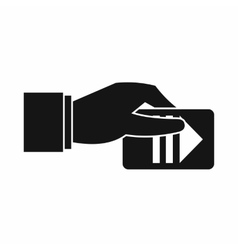 Hand with parking ticket icon simple style vector