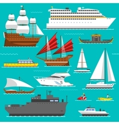 Ship and boats sea symbols vector