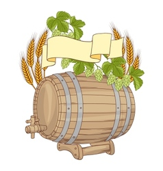 a barrel mug wheat hops vector image