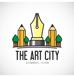 Art city concept symbol icon or logo template vector