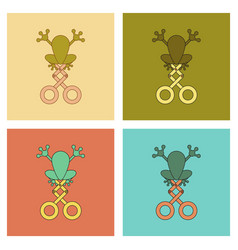 Assembly flat icons kids toy frog vector