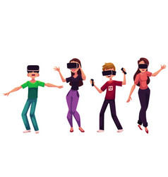 Boys and girls wearing virtual reality headsets vector