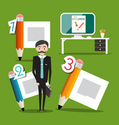 businessman with pencils and computer screen vector image
