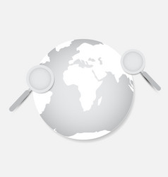 Earth and magnifier with white background vector