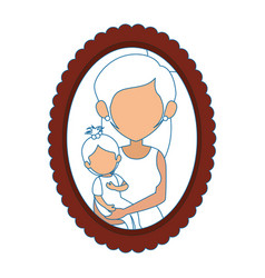 Frame with mother and daughter picture icon vector