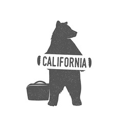 Funny hitchhiking bear with california sign vector
