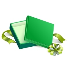 Green open gift box vector image vector image
