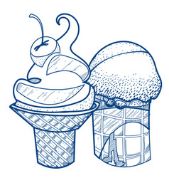 Ice cream waffle cup desserts and sweets coloring vector