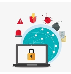 Laptop global cyber security system design vector
