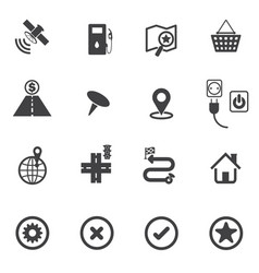 Map icons set navigation vector